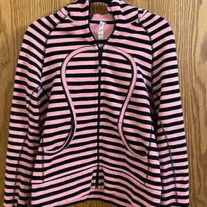 Pink/Black Striped Lulu Lemon Zip-up Jacket